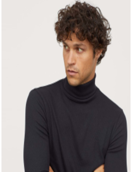 men-ribbed-polo-neck-top by h&m