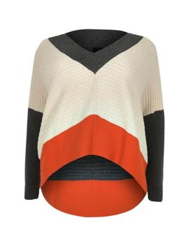 plus-beige-colour-block-batwing-sleeve-jumper by river-island
