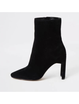 black-suede-wide-fit-heeled-ankle-boot by river-island