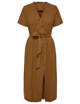 Only Bella Button Detail Wrap Dress, Brown by Farmers