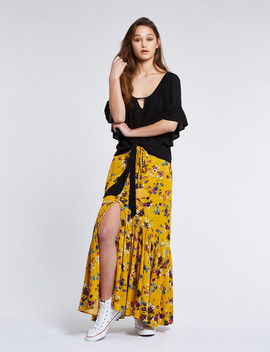 Band Of Gypsies Marseille Button Down Maxi Skirt, Mustard by Farmers