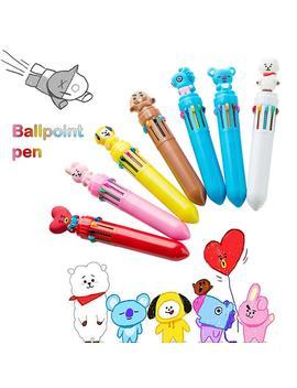 new-cartoon-cute-10-color-pressing-ballpoint-pen-student-marker-pens-high-quality-cute-pen-for-children-kids by aliexpresscom