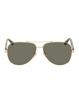 gold-&-grey-aviator-sunglasses by gucci