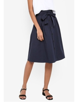 Basic Paper Bag Button Midi Skirt by Zalora Basics