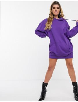 missguided-–-kapuzenpullover-kleid-in-violett-mit-grafik-auf-der-rückseite by asos