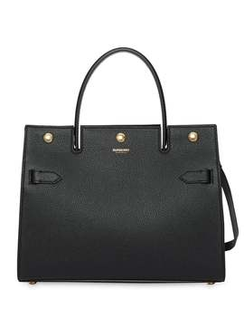 Burberry          Small Leather Title Bag by Burberry