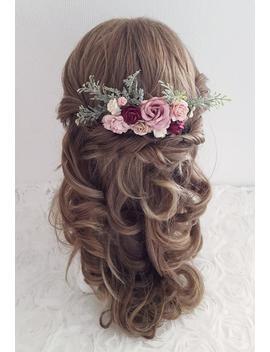 flower-hair-comb-blush-pink-mauve-burgundy-hair-clip-boho-bridal-foliage-flower-wedding-hair-slide-slider-hair-pin-headpiece by etsy