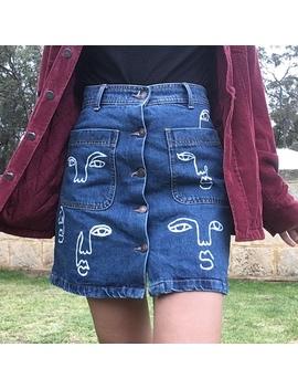 hand-painted-denim-skirt!- originally-from-zara, by depop