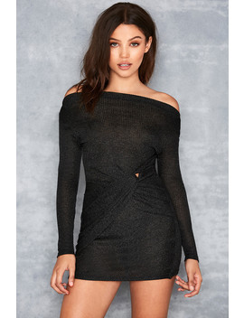 Black Twist Bardot Mini Dress   Sale by Mistress Rocks