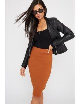 solid-bandage-midi-skirt by urban-planet