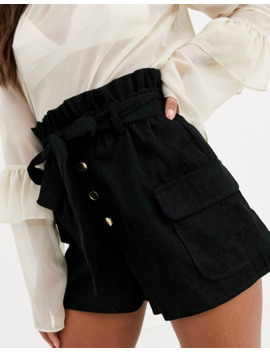 in-the-style-x-dani-dyer-corduroy-paperbag-waist-shorts-in-black by in-the-styles