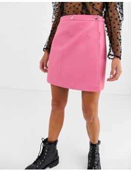 asos-design-wrap-a-line-leather-look-mini-skirt-with-snap-buttons by asos-design