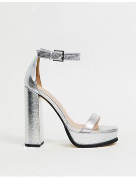 public-desire-rachael-platform-heeled-sandals-in-silver by public-desire