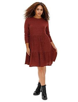 dark-merlot-ribbed-smock-dress by simply-be