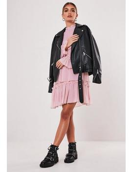 blush-high-neck-tiered-smock-dress by missguided