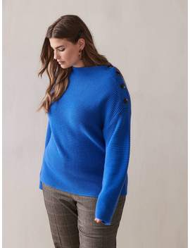 Boat Neck Button Sweater   Addition Elle Boat Neck Button Sweater   Addition Elle by Addition Elle