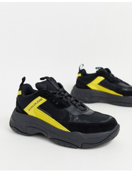 calvin-klein-marvin-chunky-trainers-in-black-and-yellow by calvin-klein