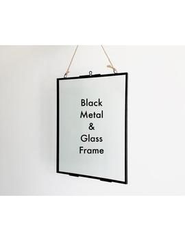 black-metal-and-sheer-glass-minimalistic-photo-frame-(frame-only) by etsy