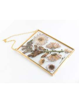 pressed-flower-frame,-hanging-glass-frame-5x7-gold-frame-for-pressed-flowers-or-photos by etsy
