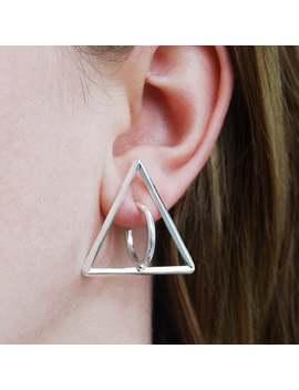 jewelry-gift,-birthday-gift-for-her,-geometric-earring,-silver-triangle-earrings,-geometric-hoop-earrings,-unusual-earring,-jewelry-handmade by etsy