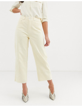vero-moda---pantalon-large-court-en-velours-côtelé---Écru by vero-moda
