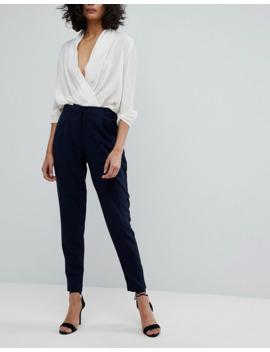 yas---pantalon-ajusté-à-taille-élastique---bleu-marine by yas