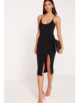 black-strappy-scoop-neck-bodycon-midi-dress by missguided