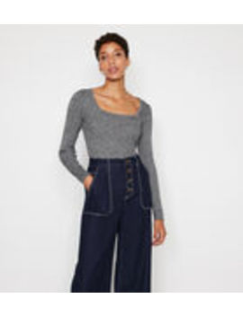 speckle-rib-square-neck-jumper by warehouse
