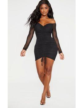shape-black-mesh-ruched-bardot-bodycon-dress by prettylittlething