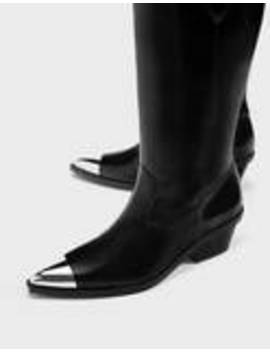 bottes-de-cowboy-bout-métallisé by bershka