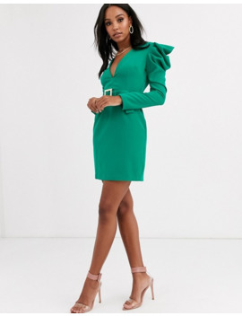 vesper-deep-plunge-midi-dress-with-statement-shoulder-in-emerald-green by vesper