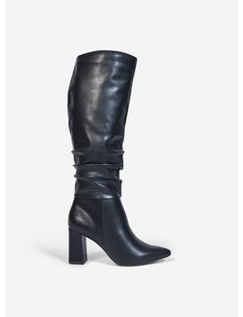 black-'khloe'-pull-on-ruched-boots by dorothy-perkins