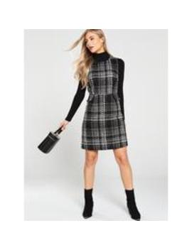 sparkle-check-tweed-dress---mono by warehouse