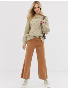 pieces-chunky-cable-knit-oversized-jumper-in-beige by pieces