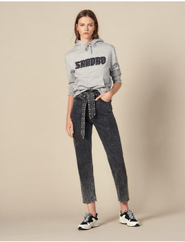 Snow Jeans With Studded Belt by Sandro Paris