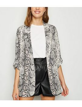brown-snake-print-blazer by new-look