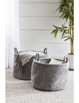 set-of-2-faux-fur-storage-baskets by next