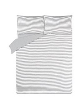 grey-striped-jersey-bedding-set-with-fitted-sheet by asda