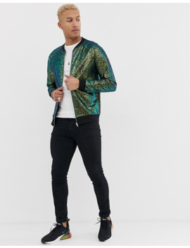 asos-design-poly-tricot-bomber-jacket-in-coloured-zebra-print by asos-design