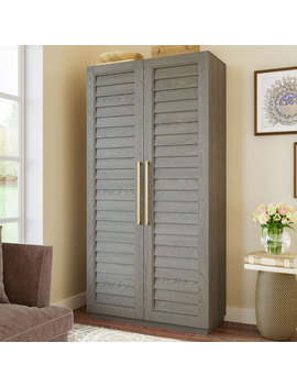 better-homes-&-gardens-ellis-shutter-bookcase-storage-cabinet,-gray-finish-with-gold-finished-accents by better-homes-&-gardens