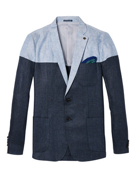 blue-linen-herringbone-contrast-blazer by scotch-&-soda