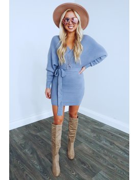 Picture Perfect Dress: Dusty Blue by Hope's