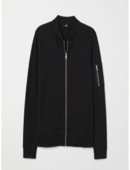 men-black-jersey-bomber-muscle-fit by h&m