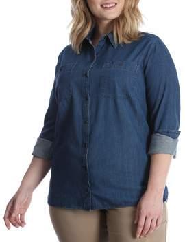womens-plus-long-sleeve-denim-shirt by lee-riders
