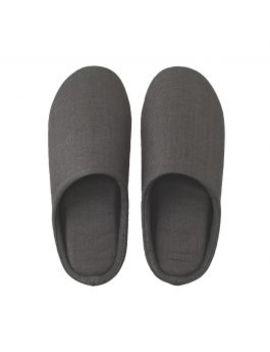 Linen Twill Cushion Slippers Dark Gray by Muji
