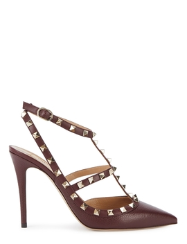 rockstud-100-burgundy-leather-pumps by valentino-garavani