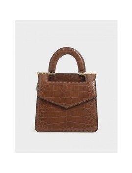 Mini Croc Effect Envelope Bag by Charles & Keith
