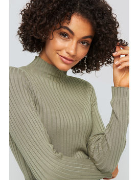 ribbed-knitted-polo-sweater-green by na-kd