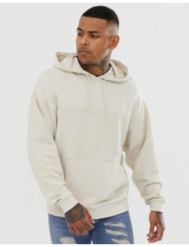 asos-design-oversized-hoodie-with-reverse-panel-in-beige by asos-design