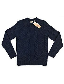 levis-fisherman-cable-crewneck-wool-sweater-mens-small-navy-msrp-$118 by levis